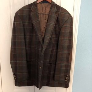Wool Sport Coat Blazer Elbow Patches Plaid 52R